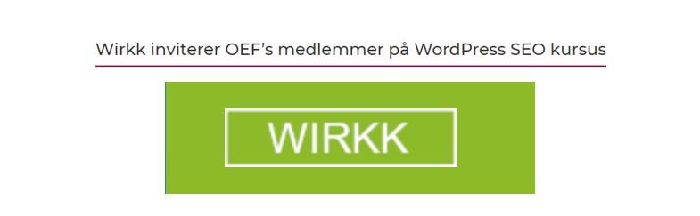 Wirkk inviterer til SEO kursus via Odsherred Erhvervsforum